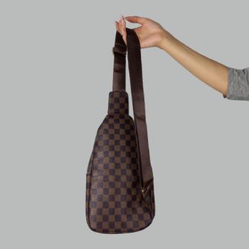 Сумка слим Louis Vuitton Jacob Клетка, коричневая 2140  - фото_3