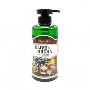 3W Clinic Plive & Argan 2 In 1 Shampoo Шампунь для пошкодженого волосся з аргановою олією та олією оливки
