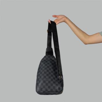 Сумка слим Louis Vuitton Harry Клетка, черная 7136 - фото_2