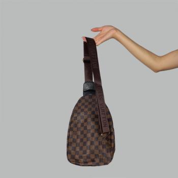 Сумка слим Louis Vuitton Harry Клетка, коричневая 7136 - фото_2