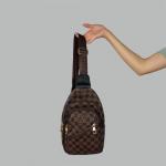 Сумка слим Louis Vuitton Harry Клетка, коричневая 7136  - фото