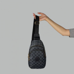 Сумка слим Louis Vuitton Felix Клетка, черная 7171  - фото
