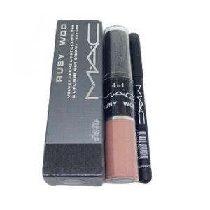 MAC Ruby Woo Velvet Creme Lipstick Lipgloss & Lipliner 4In1 Creamy Texture Помада+Бальзам+Блеск+Карандаш для губ