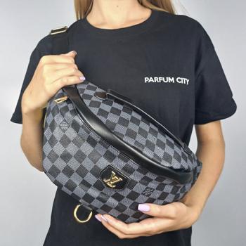 Поясная сумка Louis Vuitton Bumbag Monogram Клетка, черная 2196 - фото