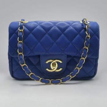 Сумка Chanel Mini Classic Handbag Синяя 6601 - фото